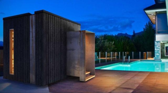 welpod exterior night pool sauna, salt room, spa design, west vancouver architecture