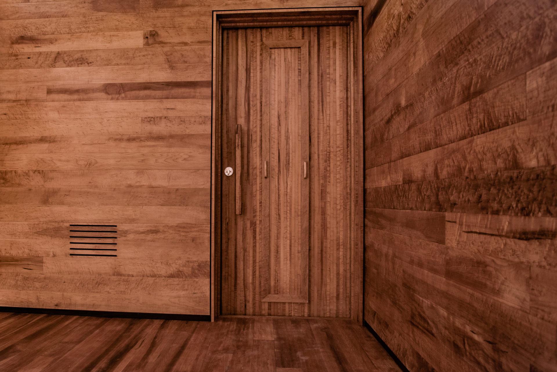 Interior shot of WelPod wood Zen Mountain Project Circle Wellness Studios