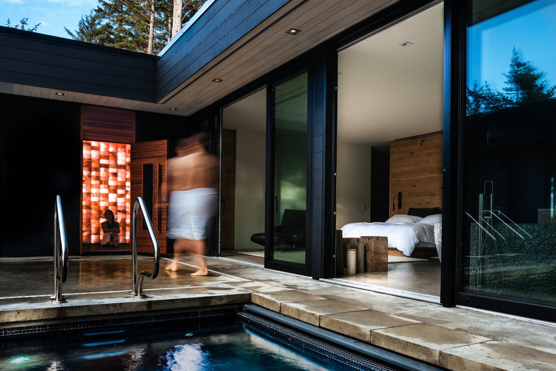 custom salt sauna by pool in tofino - circle wellness studios